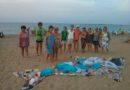 Un grupo de 15 personas forma un delfín con la basura encontrada en la playa del Raset