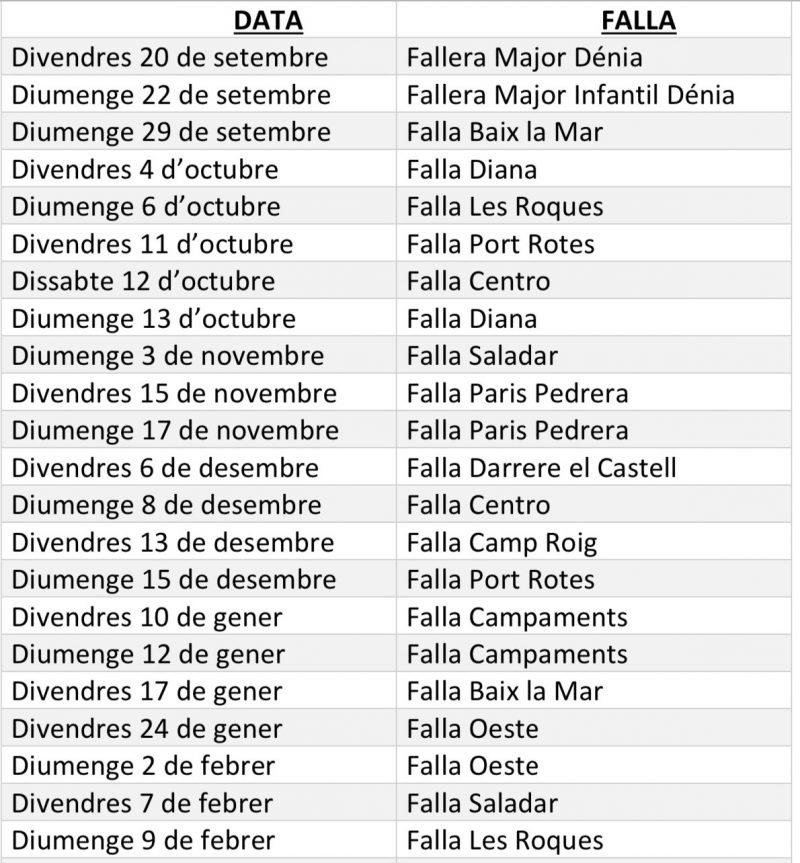 Calendario Fallero 2020.La Junta Local Fallera De Denia Actualiza El Calendario De Las