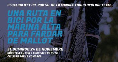El equipo cicloturista Tonus y Portal de la Marina organizan una ruta ciclista por las montañas de la comarca