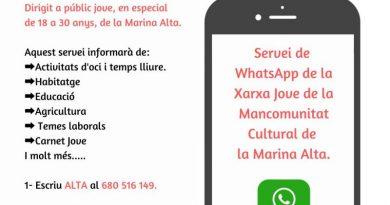 La Xarxa Jove Marina Alta lanza un servicio informativo de WhatsApp