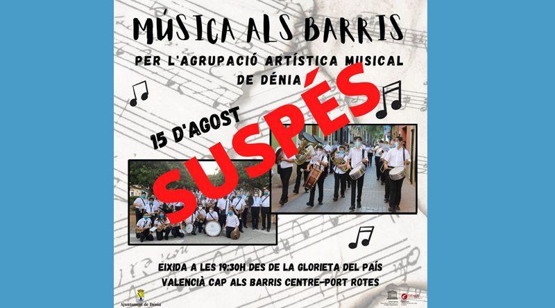 Supendida la actuación de Música als Barris del día 15